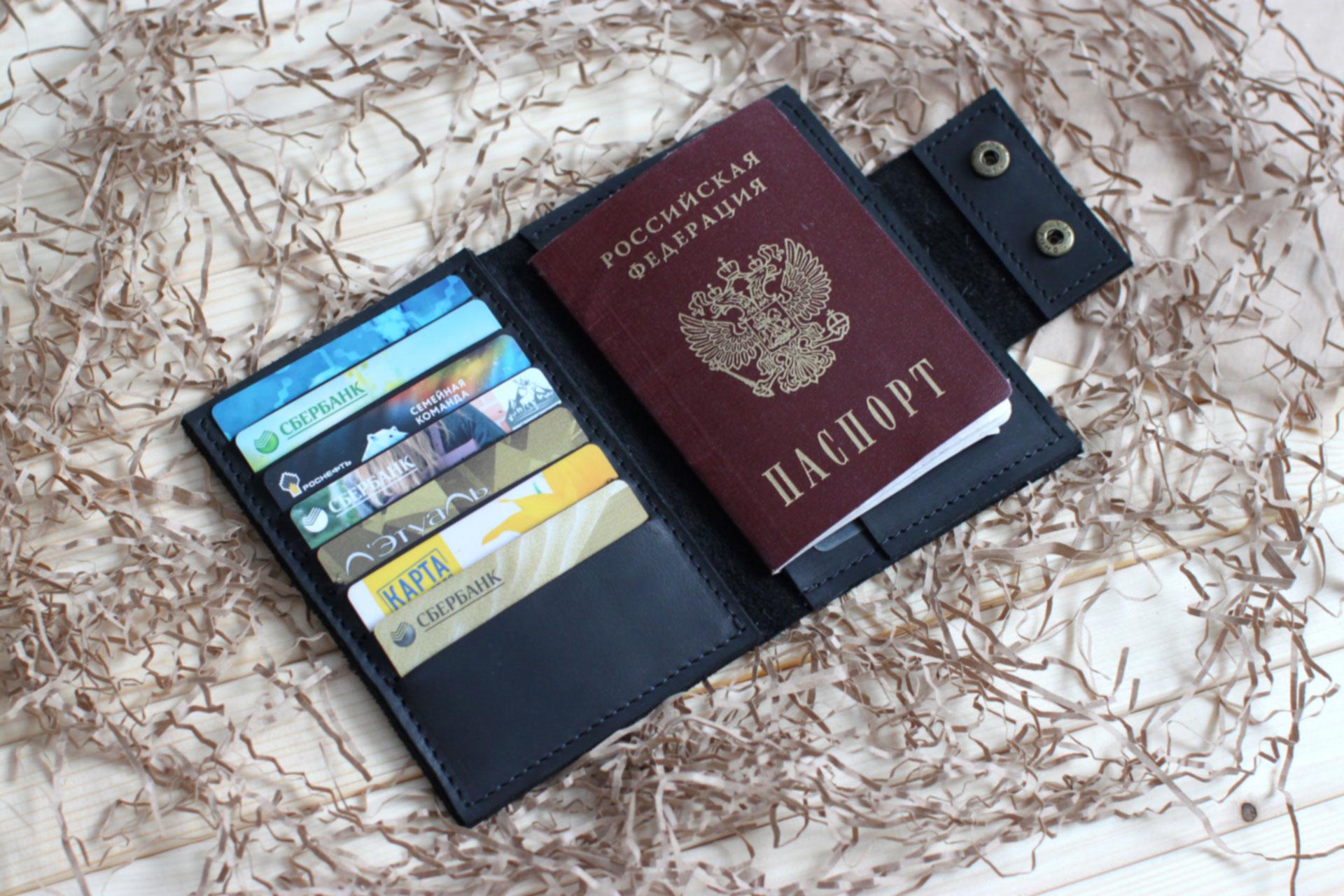 """Обложка на паспорт черная """"Тусон"""""""