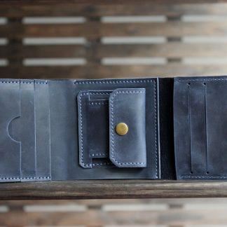 Кожаный кошелек синий стэмфорд